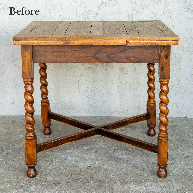 アンティークドローリーフテーブルのリペア前画像