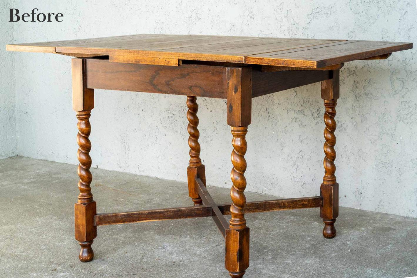 アンティークドローリーフテーブル リペア前の画像